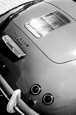 Photograph - 1955 Porsche 356 Pre-a 1500 Speedster Rear Emblem -0924bw by Jill Reger