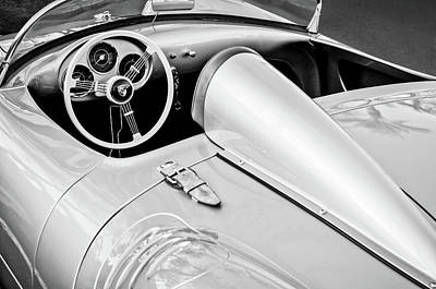 Photograph - 1955 Porsche Spyder Steering Wheel -0037bw3 by Jill Reger