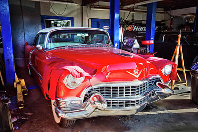 Photograph - 1955 Shiny Red Cadillac by Debra and Dave Vanderlaan