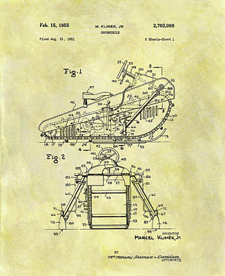 Snow Storm Drawing - 1955 Snowmobile Patent by Dan Sproul