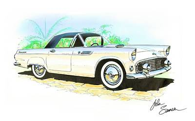 1955 Thunderbird Painting Art Print by John Samsen