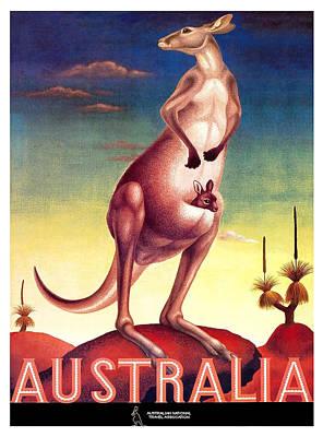 Kangaroo Digital Art - 1956 Australia Outback Kangaroo Travel Poster by Retro Graphics