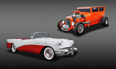 Photograph - 1956 Buick Century Convertible-1927ford Hemi Sedan   -   56buick27fdhemi6868 by Frank J Benz