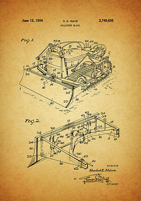 Machinery Mixed Media - 1956 Bulldozer Patent by Dan Sproul