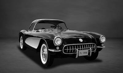 Photograph - 1956 C1 Chevrolet Corvette  -  5bw by Frank J Benz