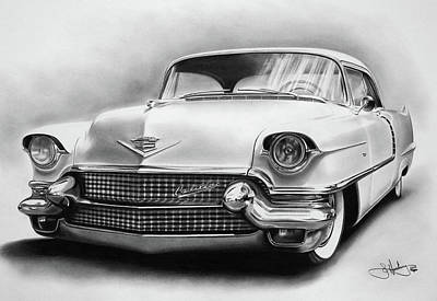 1956 Cadillac Drawing Art Print