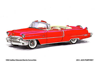 Painting - 1956 Cadillac Series 62 Convertible by Jack Pumphrey