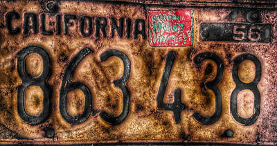 Photograph - 1956 California License by Bill Owen