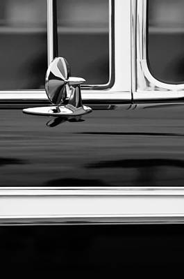 American Cars Photograph - 1956 Chevrolet 2-door Side Mirror -002bw by Jill Reger