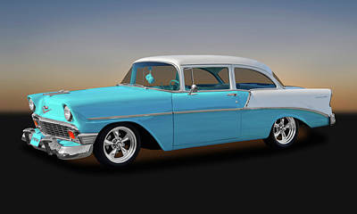 Photograph - 1956 Chevrolet 210 Post Sedan  -  1956chpost9608 by Frank J Benz