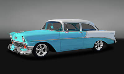 Photograph - 1956 Chevrolet 210 Post Sedan  -  26chpostgry9608 by Frank J Benz