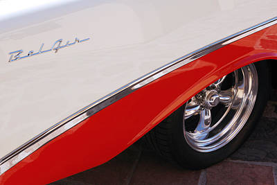 1956 Chevrolet Belair Convertible Wheel Art Print
