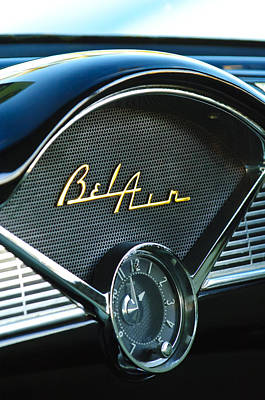 Belair Photograph - 1956 Chevrolet Belair Dashboard Clock by Jill Reger