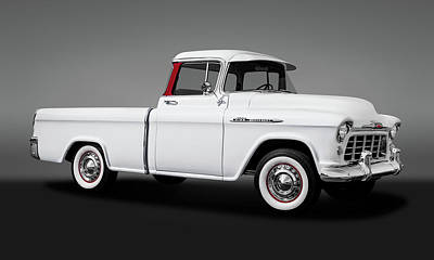 Photograph - 1956 Chevrolet Cameo Pickup Truck  -  1956chevy3100cameo1gry73585 by Frank J Benz