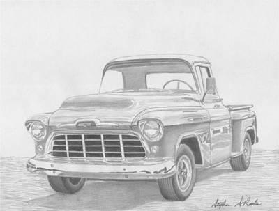 1956 Chevrolet Pickup Truck Art Print Original