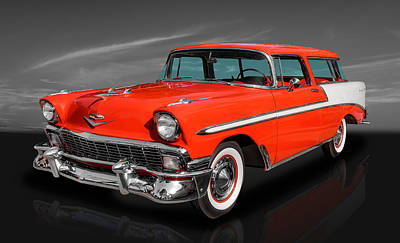 Street Rod Photograph - 1956 Chevy Bel Air Nomad by Frank J Benz