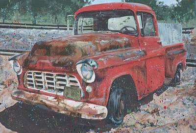 1956 Chevy Pickup Art Print by Les Katt