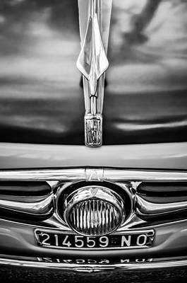 Photograph - 1956 Fiat 600 Elaborata Hood Ornament -0240bw by Jill Reger