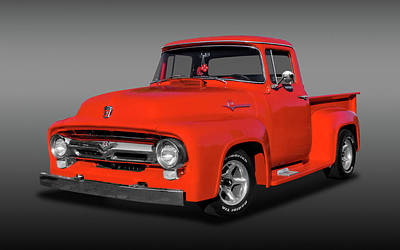 Photograph - 1956 Ford F100 Custom Cab  -  1956f100fdfa9822 by Frank J Benz