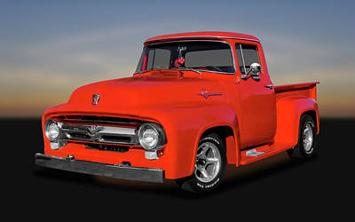 Photograph - 1956 Ford F100 Custom Cab  -  1956f100ford9822 by Frank J Benz
