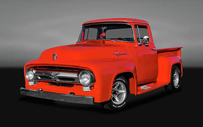 Photograph - 1956 Ford F100 Custom Cab  -  56fordf100gry9822 by Frank J Benz