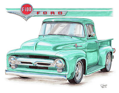 Street Rod Drawing - 1956 Ford F100 by Shannon Watts