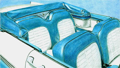 Drawing - 1956 Ford Fairlane Convertible 1 by Rob De Vries