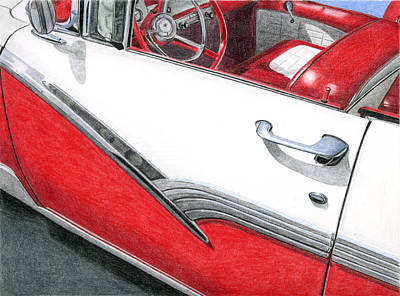 Drawing - 1956 Ford Fairlane Convertible 2 by Rob De Vries