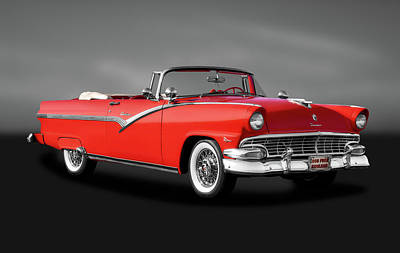 Photograph - 1956 Ford Fairlane Sunliner  -  1956fordcvsunlinergray185942 by Frank J Benz