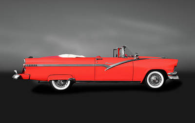 Photograph - 1956 Ford Fairlane Sunliner  -  1956fordsunlinercvgray185945 by Frank J Benz