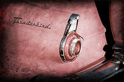 Art Print featuring the photograph 1956 Ford Thunderbird Convertible Taillight Emblem -0361ac by Jill Reger