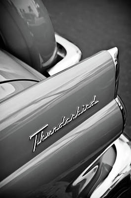 Photograph - 1956 Ford Thunderbird Emblem -0144bw by Jill Reger