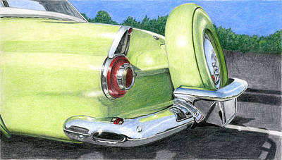 Drawing - 1956 Ford Thunderbird by Rob De Vries