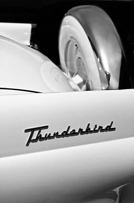 American Cars Photograph - 1956 Ford Thunderbird Spare Tire -046bw   by Jill Reger