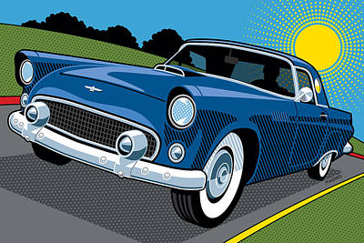 Country Road Digital Art - 1956 Ford Thunderbird Sunday Cruise by Ron Magnes