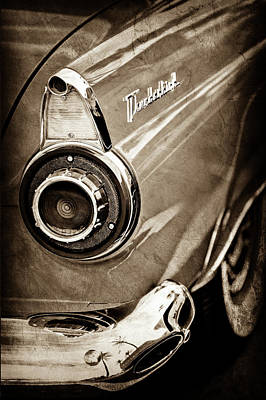 Art Print featuring the photograph 1956 Ford Thunderbird Taillight Emblem -0382s by Jill Reger