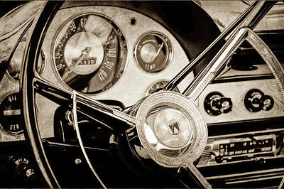 Art Print featuring the photograph 1956 Ford Victoria Steering Wheel -0461s by Jill Reger