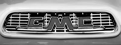 Photograph - 1956 Gmc 100 Deluxe Edition Pickup Truck  Grille Emblem -0584bw by Jill Reger