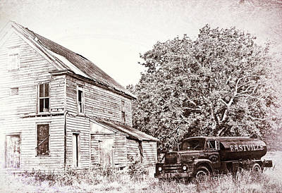 Sepia Photograph - 1956 International Truck by Marcia Colelli
