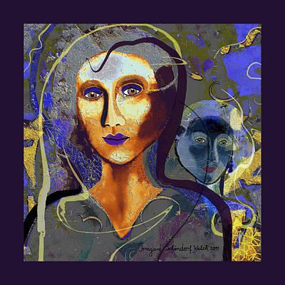 Digital Art - 1956 - Sweet Woman  Blue 2017 by Irmgard Schoendorf Welch