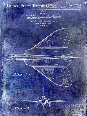 1956 Jet Airplane Patent Blue Art Print by Jon Neidert