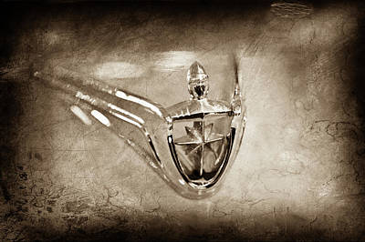 Art Print featuring the photograph 1956 Lincoln Premier Convertible Hood Ornament -0832s by Jill Reger