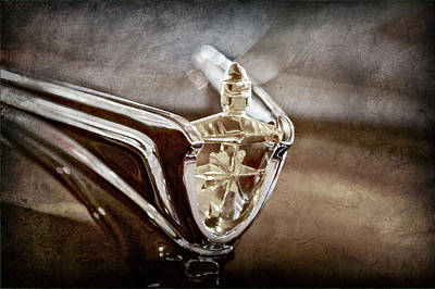 Art Print featuring the photograph 1956 Lincoln Premiere Convertible Hood Ornament -2797ac by Jill Reger
