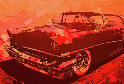 Digital Art - 1956 Mercury Hardtop Custom Pop Red by David King