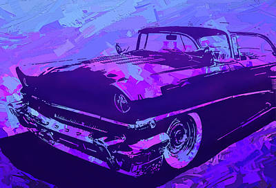 Digital Art - 1956 Mercury Hardtop Custom Pop Violet by David King