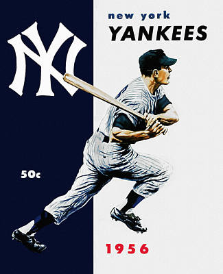 Yankee Stadium Painting - 1956 New York Yankee Program by Big 88 Artworks