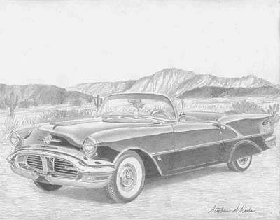 Super Cars Drawing - 1956 Oldsmobile Super 88 Convertible Classic Car Art Print by Stephen Rooks