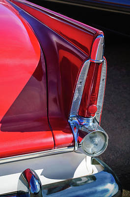 Plymouth Car Photograph - 1956 Plymouth Tail Light -ck0233c by Jill Reger