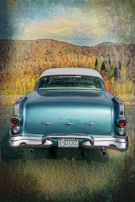 Photograph - 1956 Pontiac In Blue And Gold Watercolors by Debra and Dave Vanderlaan