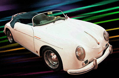 Painting - 1956 Porsche 356 Speedster Digital Oil by Chris Flees